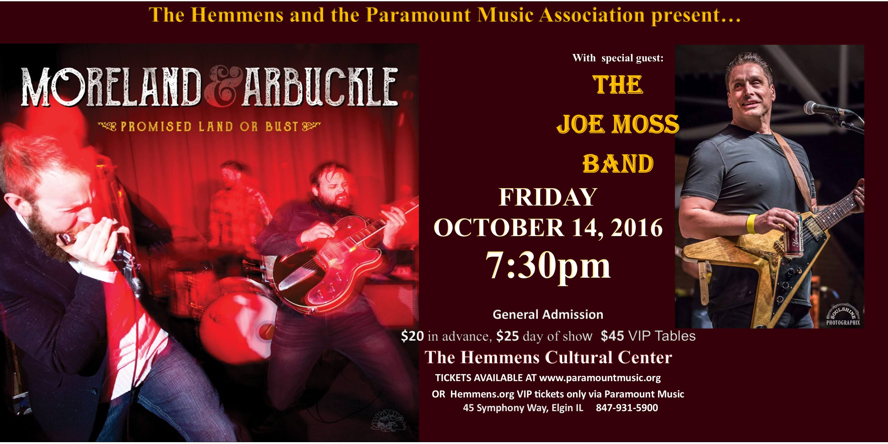 Moreland & Arbuckle with Guest Joe Moss - Oct 14th 7:30 pm at Hemmens Cultural Center in Elgin @ The Hemmens Cultural Center | Elgin | Illinois | United States